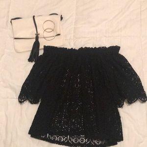 H&M Black lace off the shoulder top